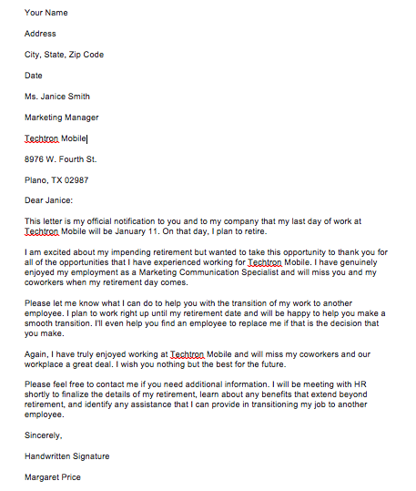 Simple Retirement Letter Sample To Employee From Employer