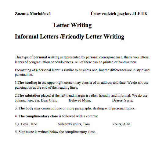 3 informal letter format sample top form templates free