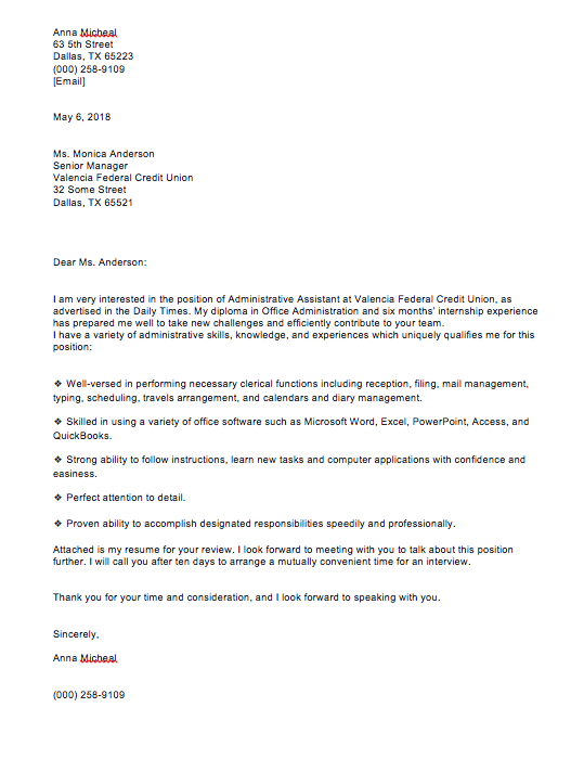 Sample Cover Letter For Admin Assistant Position from topformtemplates.com