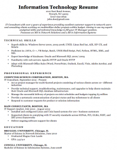 IT Professional Resume Samples, IT Resume Samples For Experienced Professionals, IT Resume Format For Experienced