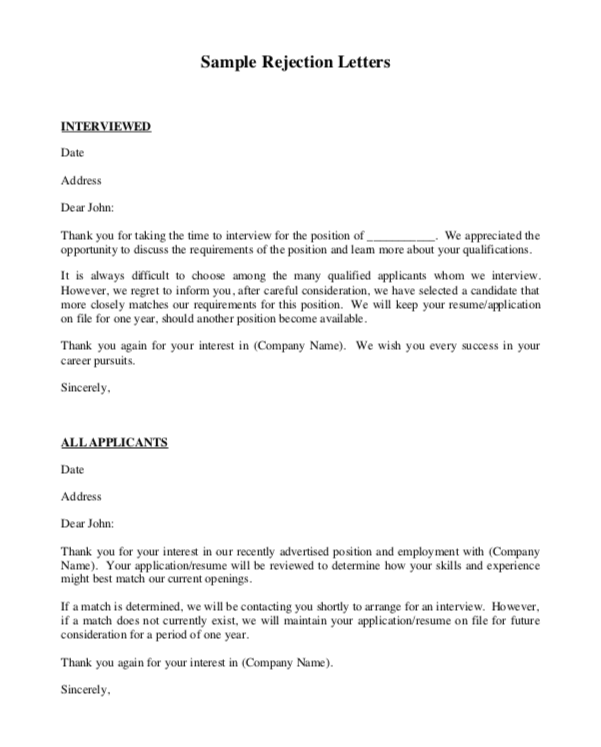 Sample Job Rejection Letter from topformtemplates.com