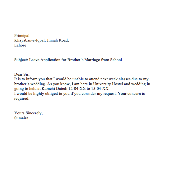 leave application for brother marriage to principal application for marriage leave to school principal