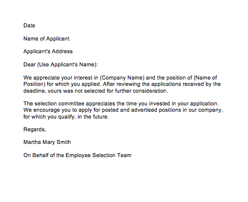 Rejection Letter Before Interview