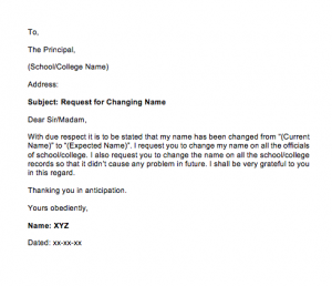 Request Letter For Change Of Name In School Records, Sample Letter For Name Correction