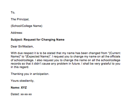 Sample Letter Of Change Name Request | Top Form Templates