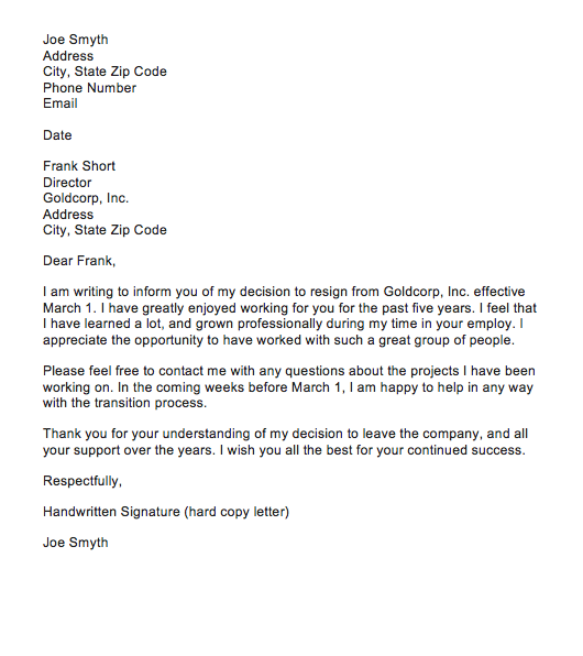 4  sample resignation letter with reason effective immediately