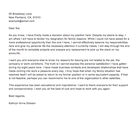 4+ Sample Resignation Letter With Reason Effective ...