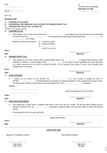 SBI Cheque Book Request Form Download PDF