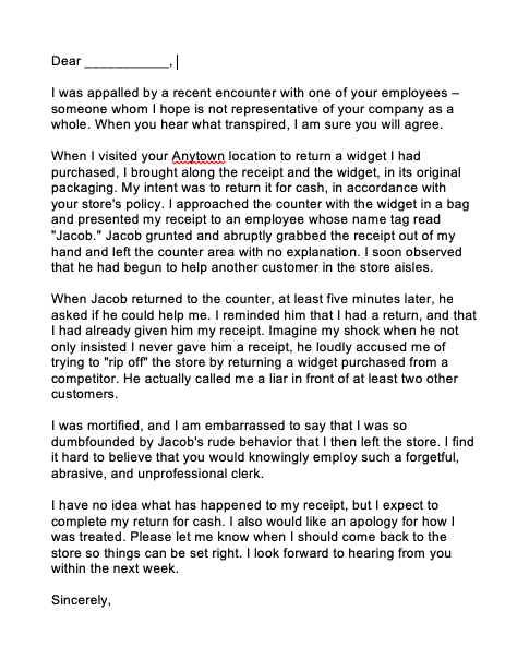 Complaint Letter To Service Provider | Top Form Templates