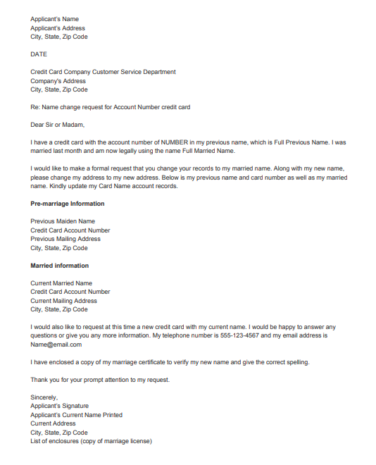 Sample Letter Of Change Name Request Top Form Templates Free