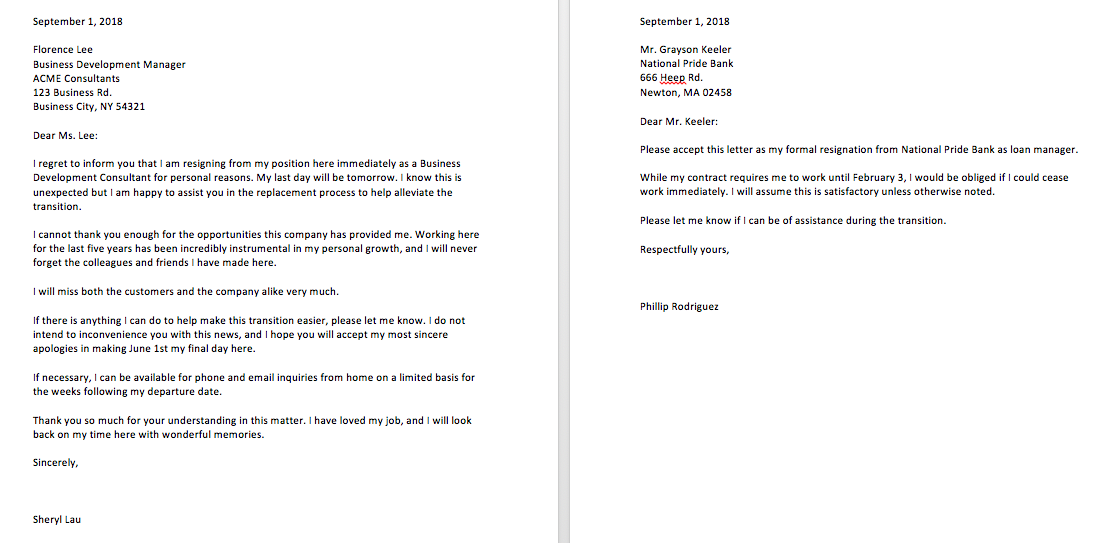 4+ Sample Resignation Letter With Reason Effective Immediately | Top ...