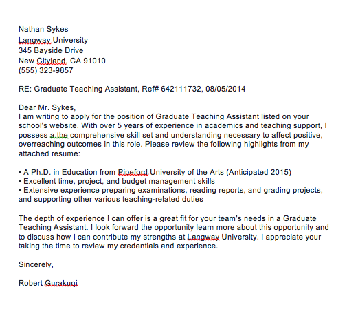 Cover letter for teaching assistant in university