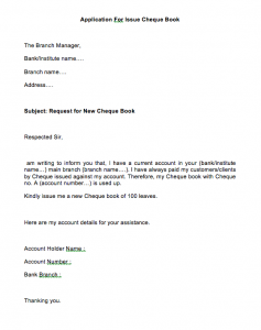 Cheque Book Issue Application In English