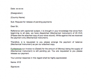 Request Letter For Payment Release, Payment Request Letter To The Client