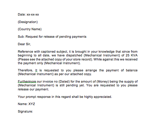 Sample Letter Requesting Payment For Services Rendered Top Form