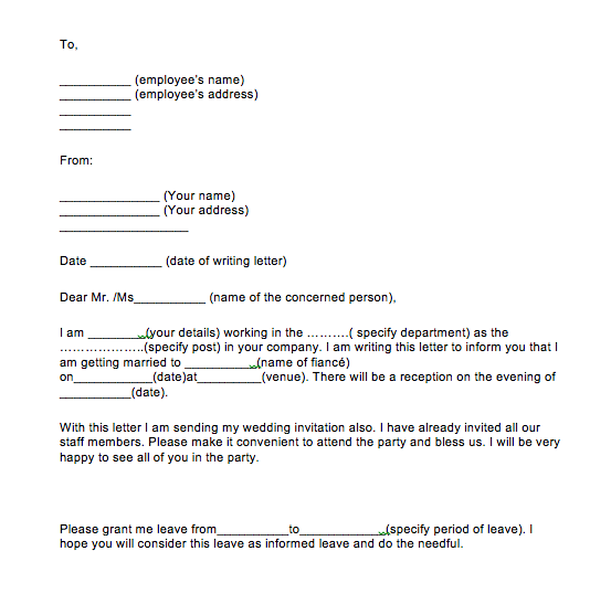 Simple Leave Application For Marriage