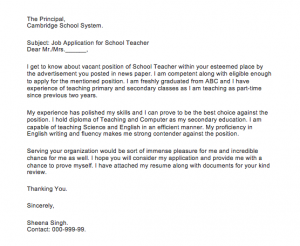 Simple application for the teaching job, Simple application for the teaching job