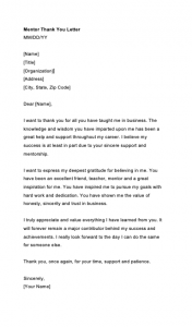 Thank You Letter To Mentor Teacher, Words Of Appreciation For Mentor