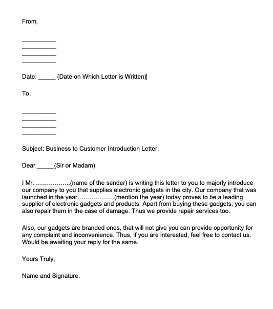 Company Introduction Letter To Client, Company Introduction Letter For New Business.