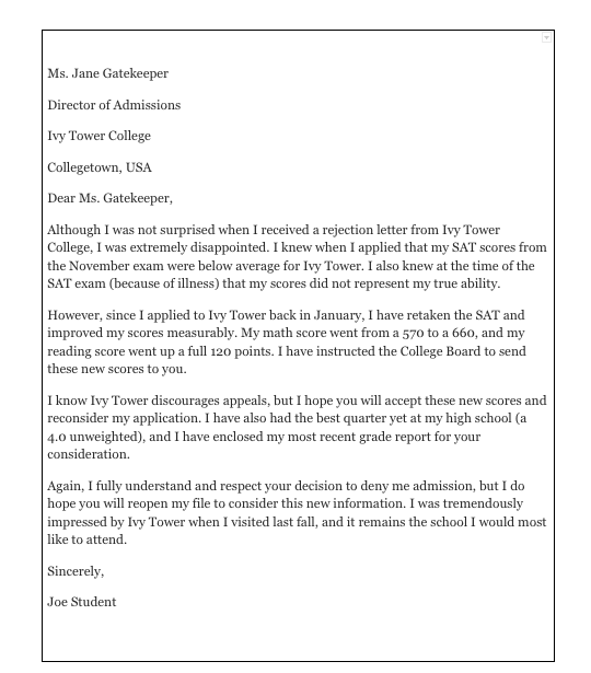 how to write an appeal letter for college admission sample letter of appeal for reconsideration