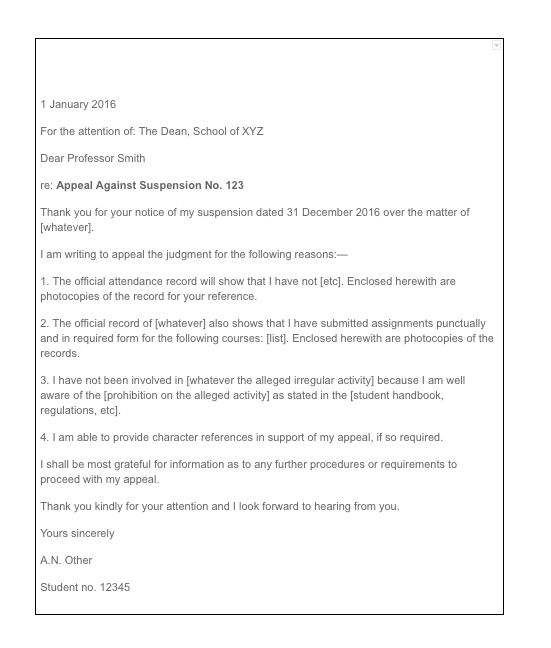 How To Write An Appeal Letter For College, sample appeal letter format