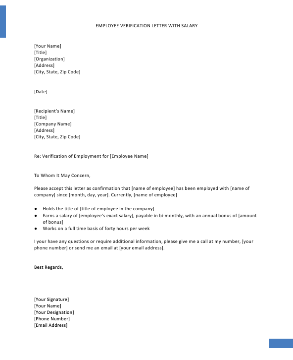Employment Verification Letter Template Word, Confirmation Of Employment letter