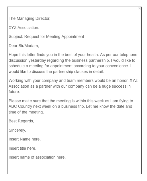 Formal Meeting Request Letter Sample | Top Form Templates | Free