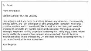How To Write An Email Asking For A Job Vacancy, Email Asking For Job Openings Sample