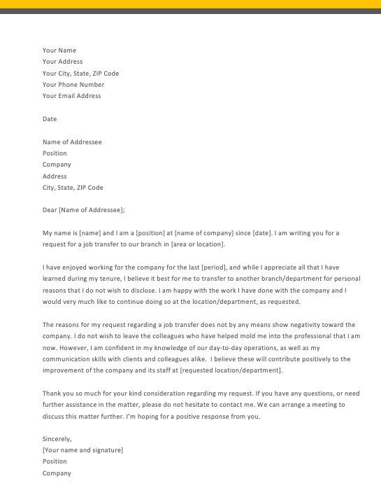 Job Transfer Request Letter For Personal Reason, Transfer Letter Example