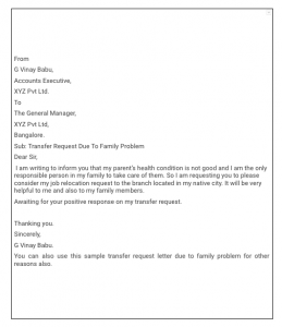 Transfer request letter due to the family problem