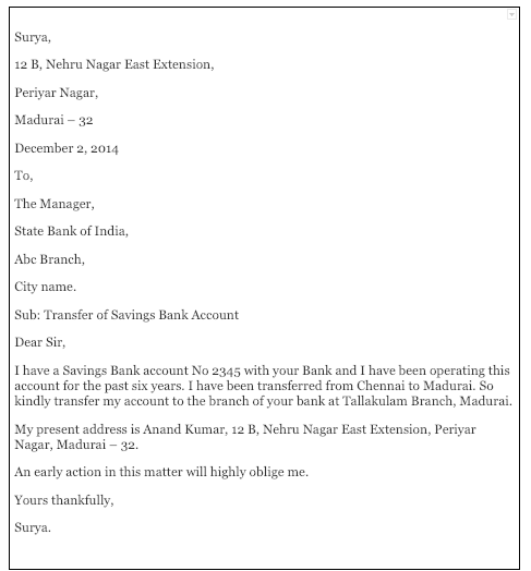 Bank Account Transfer Letter In English To Another Branch Format