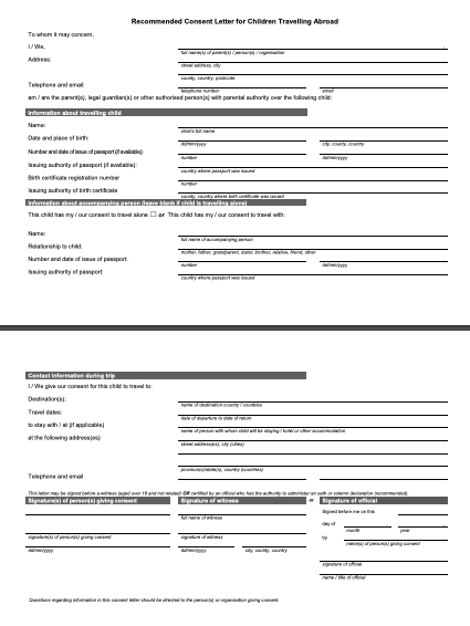 Consent Letter For Minor To Travel from topformtemplates.com