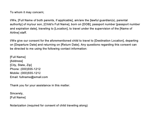 Sample Letter Of Consent To Travel Without Parents, Parental Consent Letter Sample