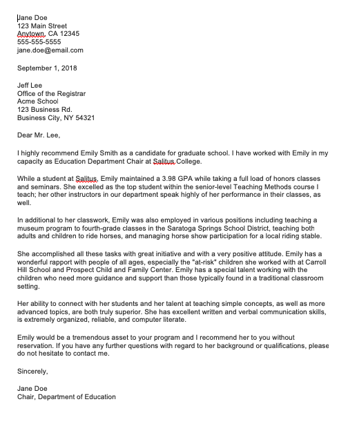 Sample Recommendation Letter For Graduate Student, Sample Recommendation Letter