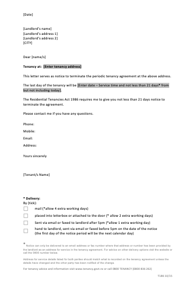 Sample Letter Of Termination Of Tenancy Agreement By Tenant, End Of Tenancy Letter Template From Tenant